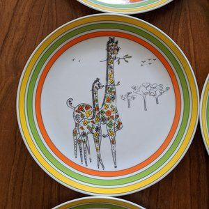 6 Lunch Plates 1970s Retro Animals Vintage Frog